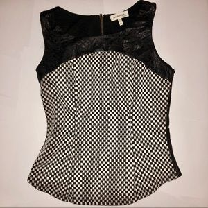 Checkered vegan leather top